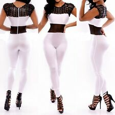 Sexy Hollow Mesh Sleeveless Women Bodycon Catsuit Jumpsuit Rompers Cocktail Club