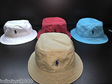 New Polo Ralph Lauren Bucket Beach Golf Fishing Hat RED AQUA WHITE KHAKI