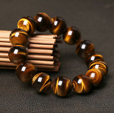 AAA+ Natural Tiger Eye Stone Round Beads Stretchy Men Bracelet Bangle Jewelry