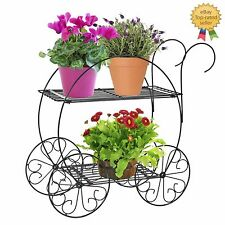 Plant Stand Steel Garden Outdoor Patio Flower Decor Bicycle Cart Yard Holder New