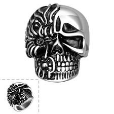 Fashion Stainless Steel Silver Vintage Skull Gothic Jewelry Punk Ring For Men