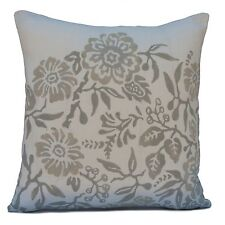 Off White Linen Decorative Throw Pillow Cover with Grey Floral Printed Pattern