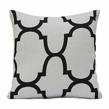 Off White Linen Decorative Throw Pillow Cover with Black pattern,Toss Pillow.