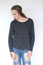 New We the Free Free People Long sleeve top black stripes shoulder buttons