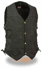 Men's Black Classic 8 Pocket Snap Front Denim Vest with Side Lace & Gun Pocket