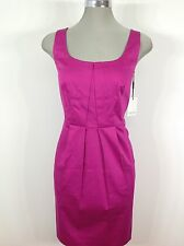 Calvin Klein NWT Beautiful Fuchsia Cotton Dress pleated front side pockets sz 8