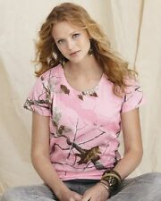 Code V Ladies Pink Realtree Camouflage T-Shirt S-2XL Womens Camo Tee 3685 NEW