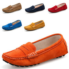 Womens Ladies Genuine Leather Loafers Slip On Shoes Driving Flats Casual Shoes