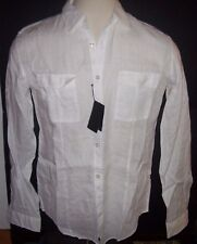 New HUGO BOSS white long sleeve light weight shirt 100% sz Linen large or XXL