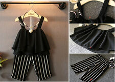 2015 Fashion Summer Baby Girl Clothes Chiffon Vest+stripe Shorts Outfits 1-6T I