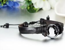 Men's Women's Tribal O-ring Adjustable Leather Bracelet Charm Wristband Cuff New
