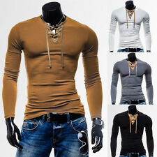 Sexy Fashion Mens T-Shirt Casual Slim Fit Lace Up Neck Long Sleeve Shirt Tee Top