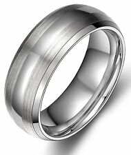 8MM Mens Tungsten Carbide Ring Wedding Band Polish Brushed Beveled Edges Jewelry