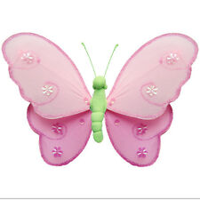 Hanging Butterfly Dk Pink Green Pink Nylon Wall Ceiling Butterflies Decorations