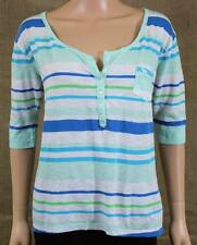 Abercrombie & Fitch Alana Henley Tee Womens Blue White Striped Shirt New NWT