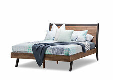 Scandi Retro Solid Acacia Oak Timber Queen Size Bed Frame Only - Scandinavian