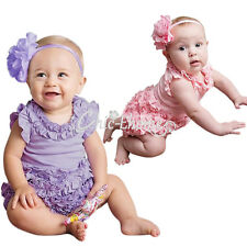 Newborn Baby Girls Romper Bodysuit Headband Party Dress Outfit Clothes Set 6-24M