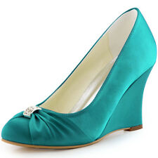 EP2005 Closed Toe Satin Knot Wedges High Heel Pumps Women's Wedding Party Shoes