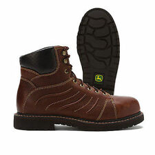 JOHN DEERE BOOTS WCT BROWN BULL HIDE LEATHER STEEL SAFETY TOE WORK BOOT JD6923