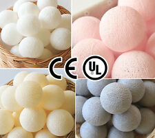 20 PLAIN COLOR COTTON BALL STRING LIGHTS CE UL - BEDROOM, WEDDING, PARTY