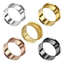 Steel Flesh Tunnel Ear Plug Piercing Double Flared Hollow Stainless Tube 2-51 mm