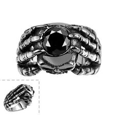 Men's Black Zirconia 316L Stainless Steel Black Silver Vintage Skull Claw Ring