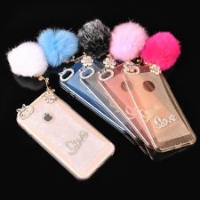 "Bling Crystal Diamond TPU Case Cover with Plush Ball For iPhone 6 4.7""/Plus 5.5"""
