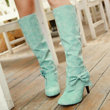 X US4-12 Womens knee high boots bowknot heel winter pull on warm shoe sexy shoes