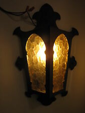 VINTAGE GOTHIC PORCH LIGHT WALL SCONCE AMBER GLASS