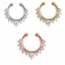 1 pc Non Piercing Fake Clip On Septum Clicker Unisex Crystal Nose Ring Hoop