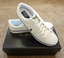 RALPH LAUREN MEN'S NEW BOLINGBROOK WHITE LEATHER SHOES TRAINERS ALL SIZES