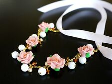 Polymer Camellia Flower Necklace With Jade Beads/crystal