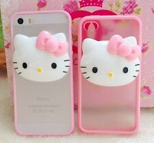 For iPhone 4S 5S 5C - Pink Hello Kitty 3D HARD GUMMY RUBBER TPU SKIN CASE COVER