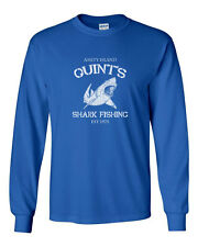 047 Quints Shark Fishing Long Sleeve Shirt great white movie 70s new vintage new
