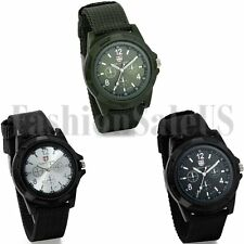 Men's Military Army Sport Outdoor Pilot Luminous Canvas Belt Quartz Wrist Watch