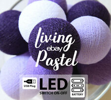 20 COOL COLOR TONE COTTON BALL WITH LED BATTERY OPERATED PARTY STRING LIGHTS