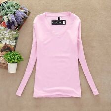 Women's V-neck T-shirts Base Shirts Basic Tees Elastic Long Sleeves Tops Blouses