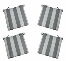 Set of 4 In / Outdoor Foam Chair Seat Cushions Gray White Stripe - Choose Size