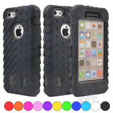 Black Tyre Tread Soft Silicone Rubber PC Hybrid Shockproof Armor Case For iPhone