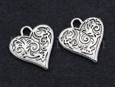 10/40/200pcs Tibetan Silver two-sided heart Jewelry DIY Charms Pendant 16x15mm