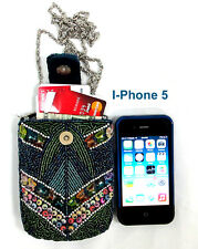 Hand Made Fully Beaded Pouch Magnetic Closure Shoulder & Wrist Chain Fit Iphone5