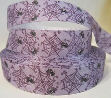 "GROSGRAIN HALLOWEEN PURPLE SPIDER WEB 1"" INCH PRINTED RIBBON 1, 3 OR 5 YARDS**"