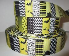 "GROSGRAIN HALLOWEEN BAT 1"" INCH YELLOW AND BLACK RIBBON 1, 3 OR 5 YARDS**"