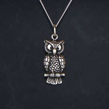 Sterling Silver Owl on Branch Pendant or Necklace 925 with Gift Box