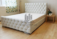 Stylish White Fabric Upholstered Bed Chenille Leather 4FT6 Double 5FT king Size