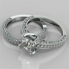 2.19Ct Princess Cut Engagement Ring & Matching Band Available in 14K White Gold