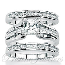 925 Sterling Silver Women's Wedding Band Princess Bridal Engagement Ring 3pc Set