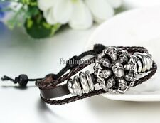 Men's Tribal Punk Skull Head Adjustable Leather Bracelet Wristband Cuff Bangle