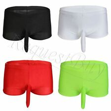Men's Sheer Tights Boxer Brief Underwear Sheath Crotch Closed Bdsm Bikini Shorts