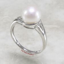14k Solid White Gold Genuine AAA White Cultured Pearl Cocktail Diamonds Ring